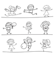 hand drawing cartoon character happy kids playing vector image