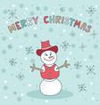 merry christmas snowman blue greeting card cute vector image