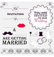 Set of wedding invitation vintage design elements vector image