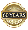 Sixty Years Experience Gold vector image