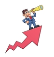 Businessman with telescope on arrow vector image