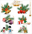 Christmas and New Years decoration elements vector image vector image