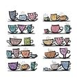 Ornate mugs on shelves sketch for your design vector image
