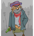 cartoon homeless man in ragged clothes vector image