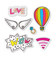 fashion stickers elements with air balloon wings vector image