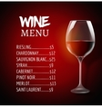 Wine menu card design template Wine list template vector image