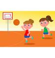 girls playing basketball vector image