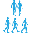 Silhouette of People Walking in Several Poses vector image
