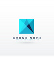blue square abstract logo concept design vector image