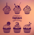 Cupcakes Silhouette Set vector image
