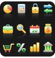 finance black background icon set vector image