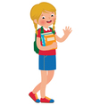 Little girl student of the school with textbooks vector image