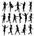 Set silhouettes of children happy birthday vector image