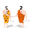 Prehistoric Businessman deal trade with Ancient vector image