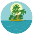 island with palm and sun vector image vector image