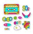 fashion stickers elements with cassette and cute vector image