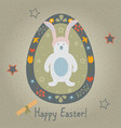 festive easter egg with cute character of bear vector image
