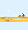 rural summer landscape with a old windmill vector image