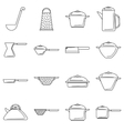 Tableware icons set outline style vector image