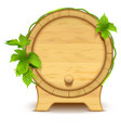 wooden barrel for wine and beer green leaves of vector image