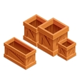 wooden box isometric 3d realistic vector image