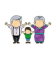 happy grandparents standing with their grandson vector image