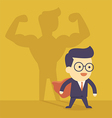 Businessman casting strong man shadow vector image