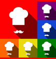 chef hat and moustache sign set of icons vector image