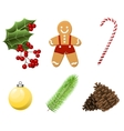 Cristmas Set with traditional realistic cartoon vector image