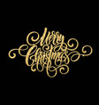 merry christmas golden handwriting script vector image