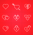 valentines day set of outline icons vector image