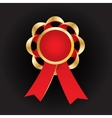 Realistic gold award with reb bow and vector image