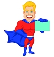 Superhero cartoon holding name card vector image vector image