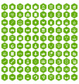100 online shopping icons hexagon green vector image