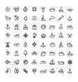 black boat and ship icons set vector image vector image