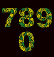 Spring style green digits numbers with eco floral vector image