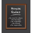 chalk board house rules vector image