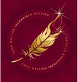 emblem writer s feather vector image