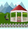 backyard garden house bbq vector image