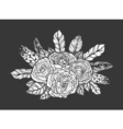 Blackwork tattoo of rose and feathers bouquet Very vector image