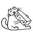 cartoon cat is drinking milk isolated vector image