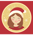 Circle Christmas Girl on Red vector image