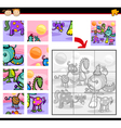 Fantasy characters jigsaw puzzle game vector image