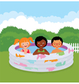 Group of children in an inflatable pool vector image