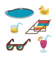 summer icons flat-style drinks glasses vector image