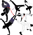 Capoeira fighter or breakdancer silhouettes vector image vector image