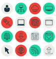 set of 16 world wide web icons includes virtual vector image