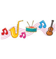 different types of instruments with music notes vector image vector image