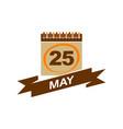 25 may calendar with ribbon vector image