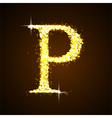 Alphabets P of gold glittering stars vector image